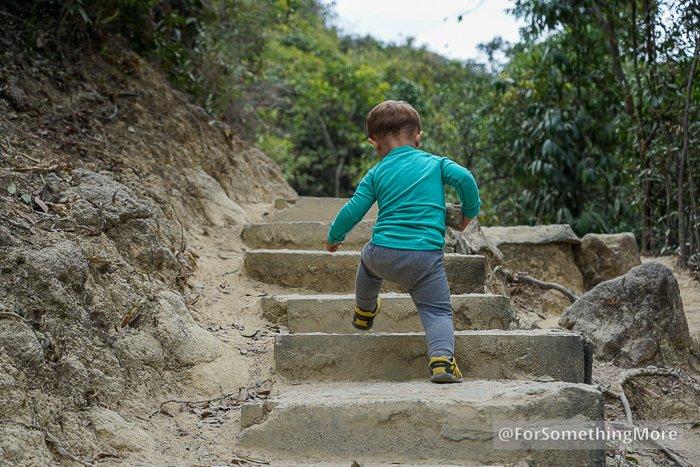 toddler hiking on trail in Hong Kong