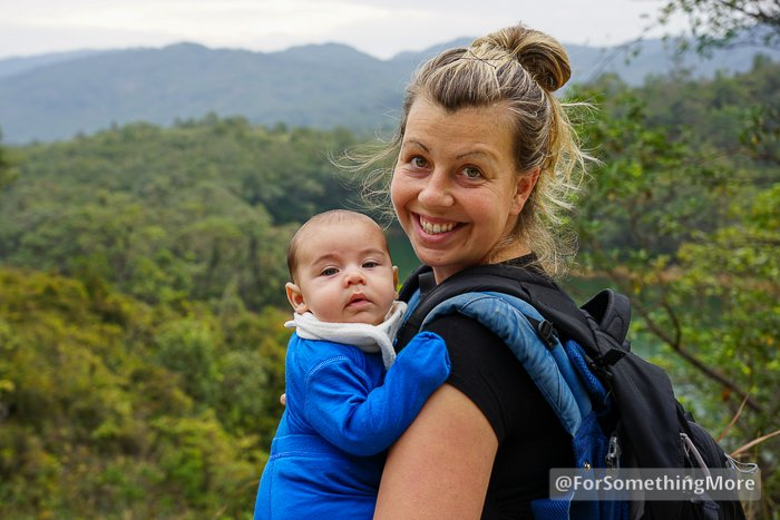 woman hiking with boy