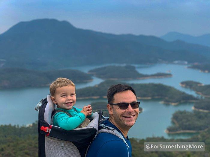 man hiking with boy at Tai Lam Chung Reservoir (大欖涌水塘 千島湖)