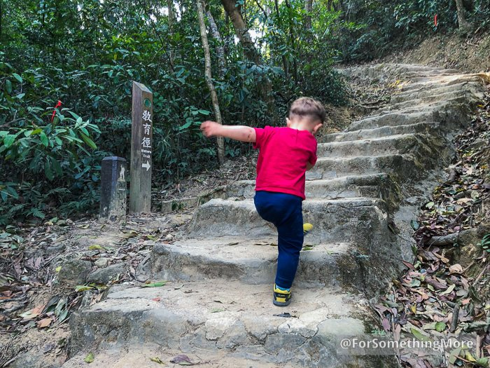 toddler hiking up stone stairs
