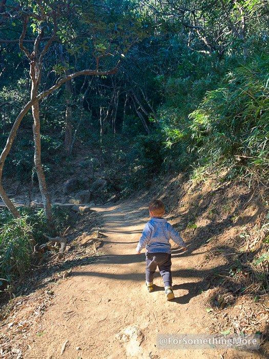 a boy hiking in the Hong Kong jungle