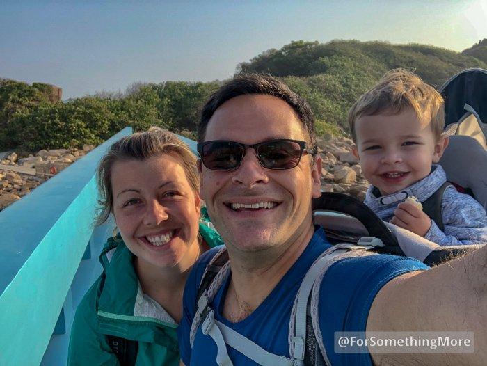 family photo on Shek O Lovers Bridge
