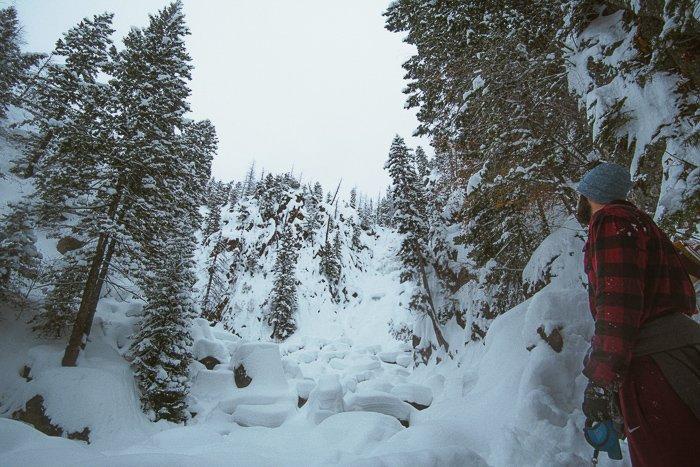Fish Creek Falls, Colorado in the winter
