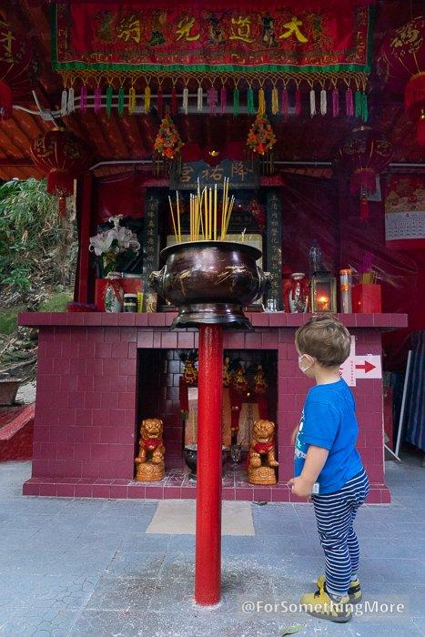 Boy in temple on Mount Parker Road