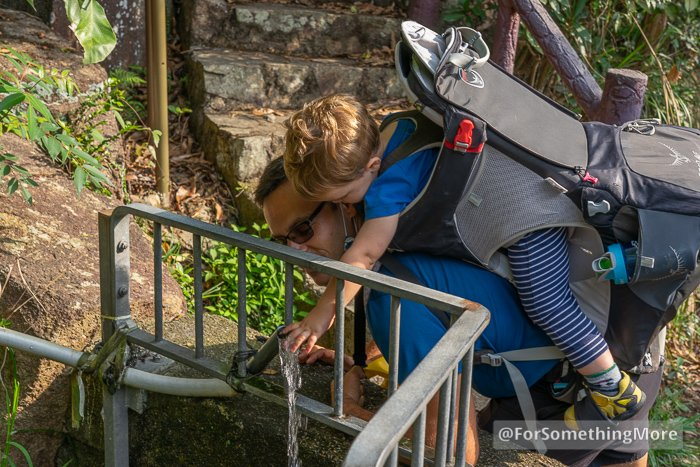 father hiking with son in backpack touching spring water