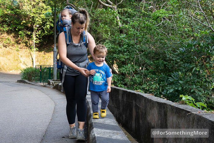 Mother hiking with two sons in Quarry Bay Hong Kong