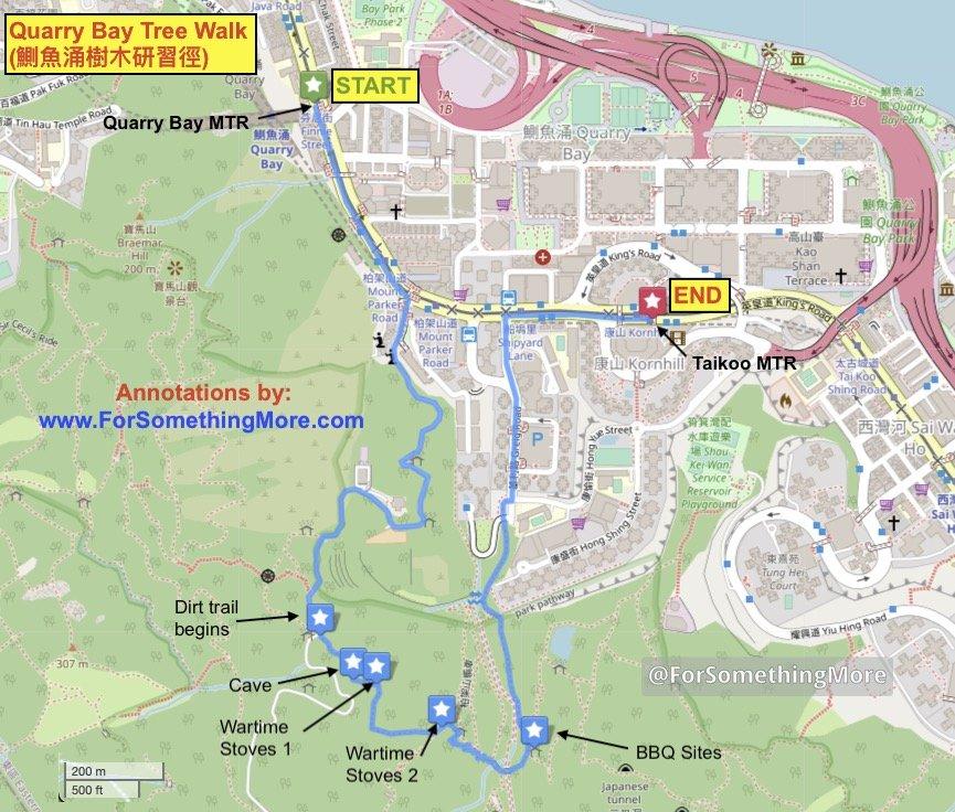 Quarry Bay hike Quarry Bay Tree Walk (鰂魚涌樹木研習徑) map