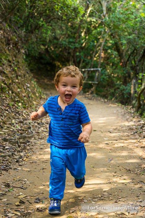 toddler running in hybrid hiking shoes