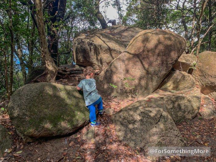 boy climbing rocks while wearing Merrell Trail Quest Jr Shoe Review