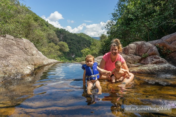 woman with two young children swimming at Ping Nam Stream