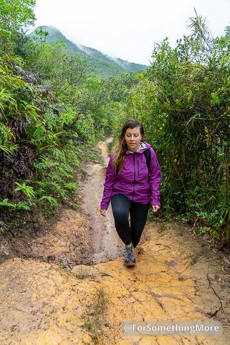 julia wearing a women's hooded rain jacket the Mountain Hardwear Stretch Ozonic